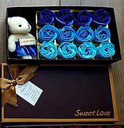 Подарочный набор мыло из роз и плюшевым мишкой в синем цвете (PNR-016) Подарок девушке, фото 3