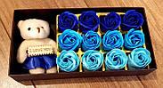 Подарочный набор мыло из роз и плюшевым мишкой в синем цвете (PNR-016) Подарок девушке, фото 7