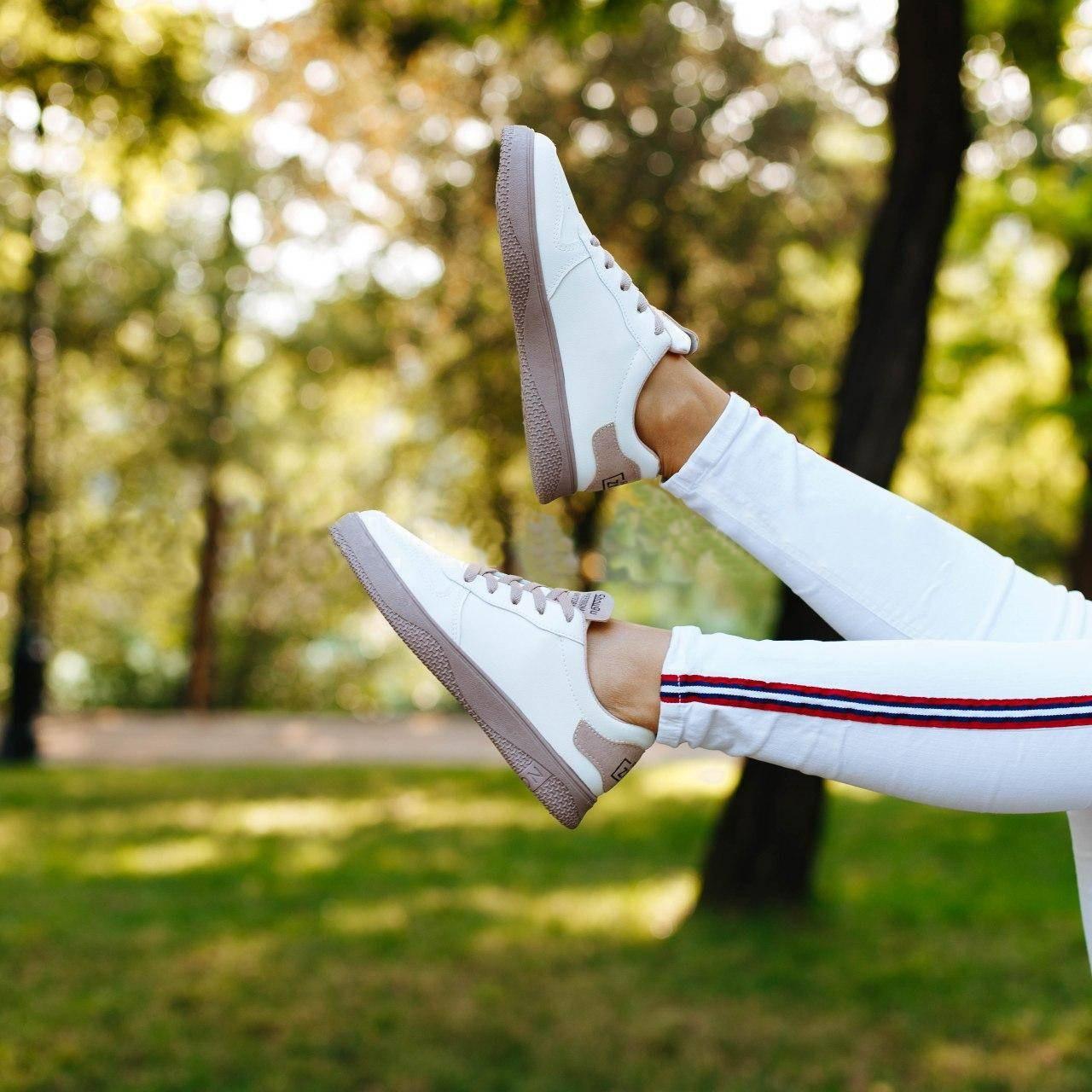 Женские кеды на шнуровке, замеры в описании  (Белые)