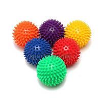 Мячик массажный, с пупырышками, жесткий, Ø 9 см, окружность 29 см, разн. цвета