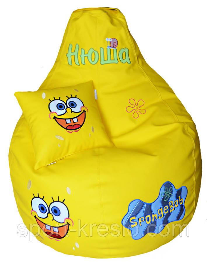 Детское Кресло, бескаркасное мешок-груша, пуф детский Губка Боб