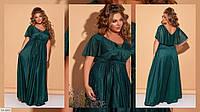 Нарядное вечернее стрейчевое платье под пояс с блестящим напылением Размер: 50-52, 54-56 арт 1410