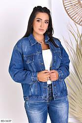 Женская джинсовая куртка большие размеры синяя SKL11-259281