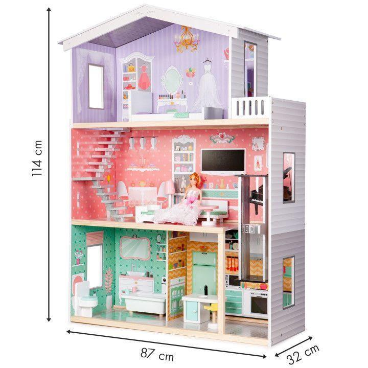 Кукольный домик для Барби 3 этажа дом для куклы с лифтом Candy Ecotoys
