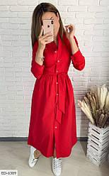 Строгое платье на пуговицах всех размеров красное SKL11-259274