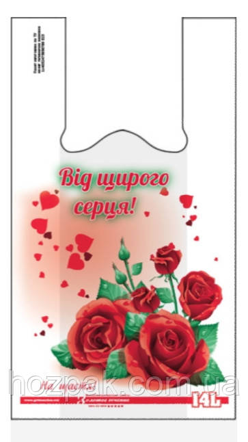 "Пакет майка с рисунком ""Розы"" 28х44 50шт."