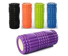 Масажний ролик (валик) для йоги MS 0857-3, 33*14см, різном. кольори