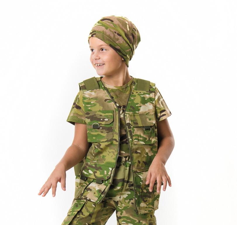 51eaa9328789 Жилет тактический детский Сталкер для мальчиков камуфляж Мультикам
