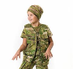 Жилет тактический детский Сталкер для мальчиков камуфляж Мультикам, фото 3