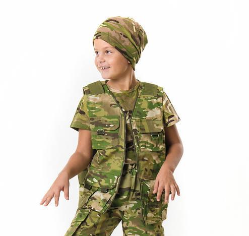 Жилет тактический детский Сталкер для мальчиков камуфляж Мультикам, фото 2
