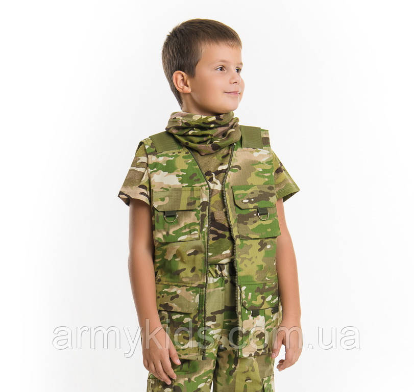 Жилет тактический детский Сталкер для мальчиков камуфляж Мультикам