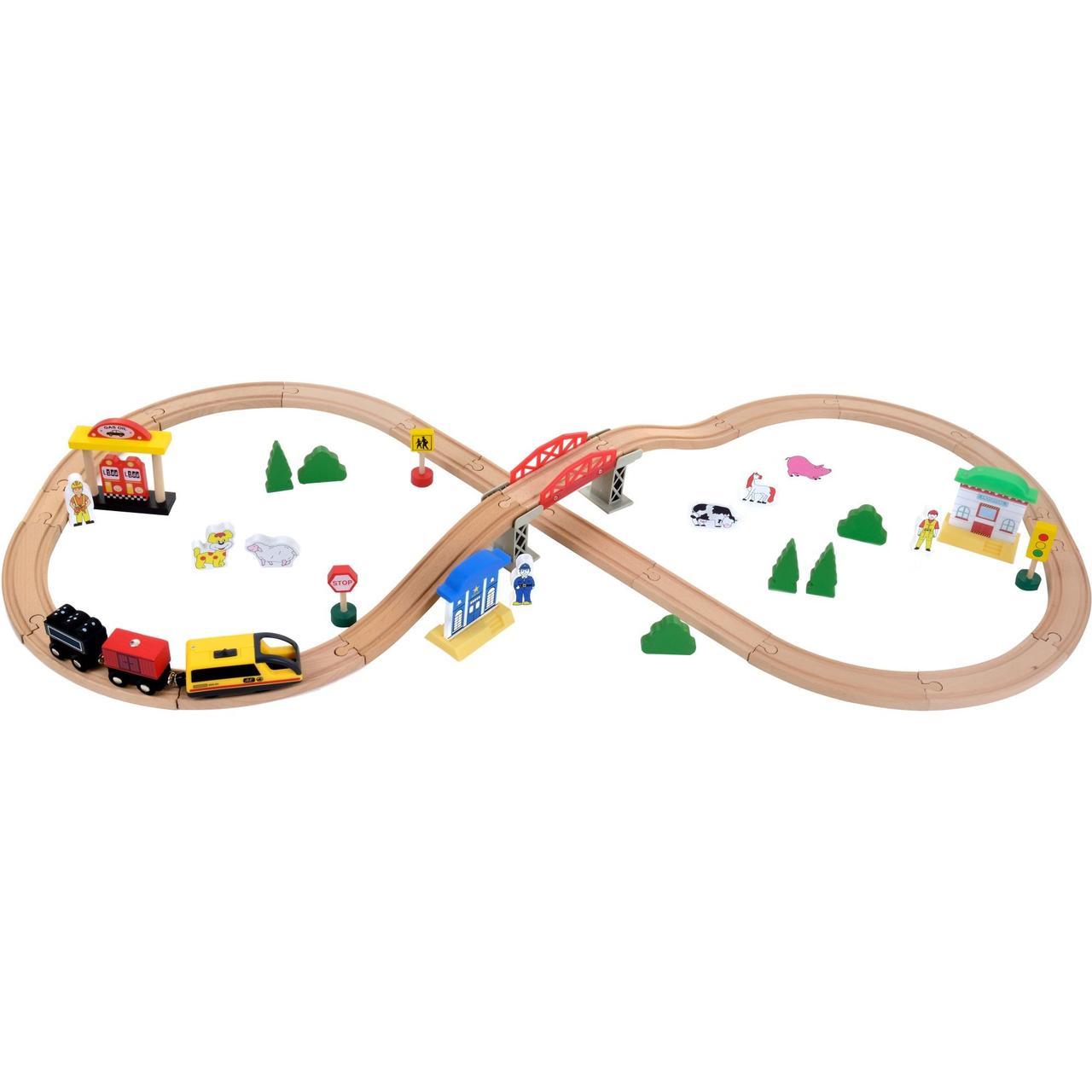 Деревянная железная дорога Juniori 46 элементов