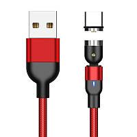 Магнитный кабель для зарядки и передачи данных Greenport 1m 3.0A для USB Type-C Red M32A09, КОД: 1804997