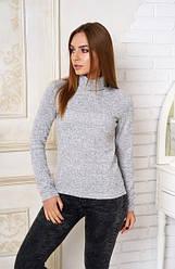 Женский зимний свитер-гольф серый меланж