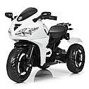 Детский электромобиль Мотоцикл M 3683 L-1, светящиеся колеса, кожаное сиденье, белый, фото 2