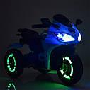 Детский электромобиль Мотоцикл M 3683 L-1, светящиеся колеса, кожаное сиденье, белый, фото 6