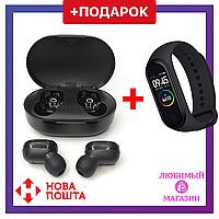 Беспроводные черные Bluetooth наушники вкладыши TWS A6S с кейсом + Фитнес браслет mi4 в ПОДАРОК!