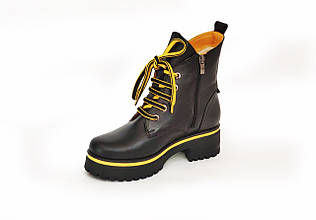 Ботинки LikeStar Агата-4\ размер 36-41\ натуральная кожа\ черно-желтый цвет. ( Женские ботинки ).