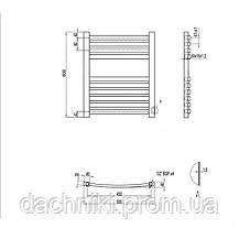 Полотенцесушитель водяной Q-tap Dias (SIL) P10 600x500 HY, фото 2
