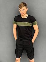 """Футболка """"Color Stripe"""" черная - хаки + Шорты Miami Черные Intruder. Комплект летний мужской"""