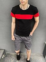 """Футболка """"Color Stripe"""" черная - красная + Шорты Miami серые Intruder. Комплект летний мужской"""