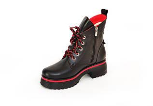 Ботинки LikeStar Агата-5\ размер 36-41\ натуральная кожа\ черно-красный цвет. ( Женские ботинки ).