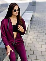 Женский модный спортивный костюм бордовый рубин осень 2020