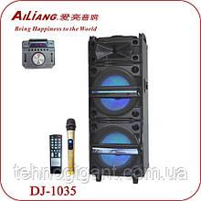 Колонка аккумуляторная с Диджей Микшером AILIANG DJ-1035 + 2 беспроводных микрофона