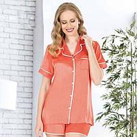Шелковая женская пижама/ спальный костюм/ комплект для сна/ для девушки/стильная/ красивая/ домашняя одежда