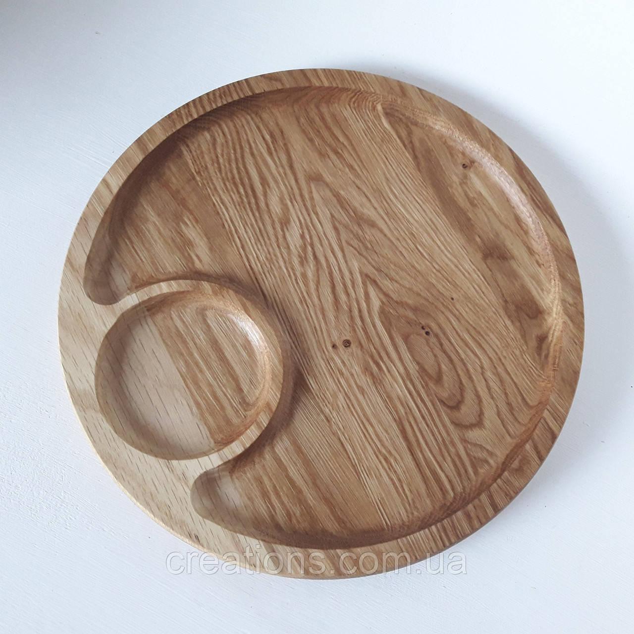 Менажница деревянная доска для подачи блюд 30 см. круглая из дуба, двусторонняя