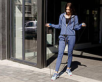 Женский модный спортивный костюм серый жемчуг осень 2020