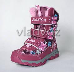 Термо зимние сапоги, ботинки для девочки сиреневый с бабочкой Fashion 26р.
