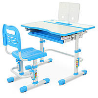 Детская парта и стул  Bambi M 4253-4 для мальчика или девочки цвет голубой подставка для книг
