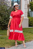Длинное стильное платье под пояс из льна  с красивым кружевом Размер: 48, 50, 52, 54, 56 арт 3231