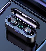 Беспроводные сенсорные наушники гарнитура в кейсе с павербанком с микрофоном Amoi F9 v2 Bluetooth Черные