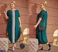 Стильное однотонное платье из льна с кружевом  Размер: 48, 50, 52, 54, 56 арт 3232