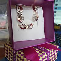 Срібний гарнітур Хвильки із золотими вставками каблучка та сережки із білими фіанітами, фото 1