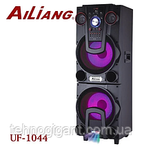 Беспроводная колонка чемодан для дискотеки Ailiang UF-1044 комбо с микрофоном и двойным 12 дюймовым динамиком