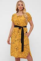Летнее прямое платье из штапеля с поясом 52 по 58 размер