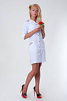 """Медицинский халат женский """"Health Life"""" х/б белый с вышивкой 2143"""