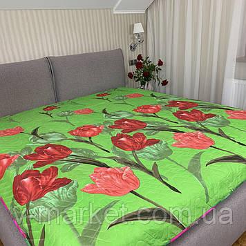 """Літній ковдру покривало """"Тюльпани"""" двоспальне окантованное, 175/210"""