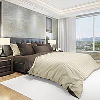 Комплект постельного белья  Облака  Комбинированный Сатин+Страйп сатин Евро 220*240  Беж с Шоколадом простынь на резинке