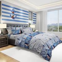 Комплект постельного белья Облака Бязь Евро Морской Маяк