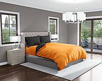 Комплект постельного белья Облака Бязь Двуспальный Графитовый с Оранжевым