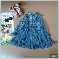 Нарядное шифоновое платье в горох. Красивое детское платье на праздник.Размер 90-130