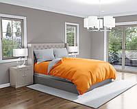 Комплект постельного белья Облака Бязь Евро Комбинированный Оранжевый с Серым