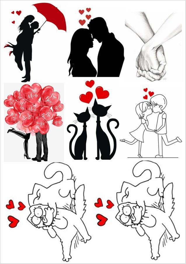 Вафельная картинка Любовь | Съедобные картинки Пара силуэты | Влюбленные картинки разные Формат А4