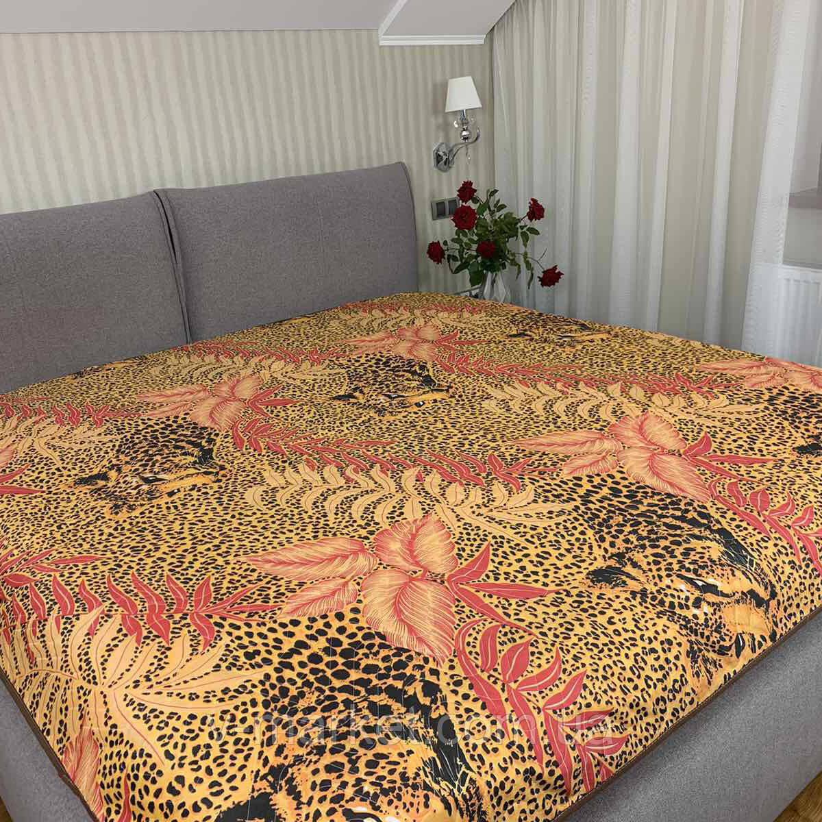 """Летнее одеяло покрывало """"Леопард"""" двуспальное окантованное, 175/210"""