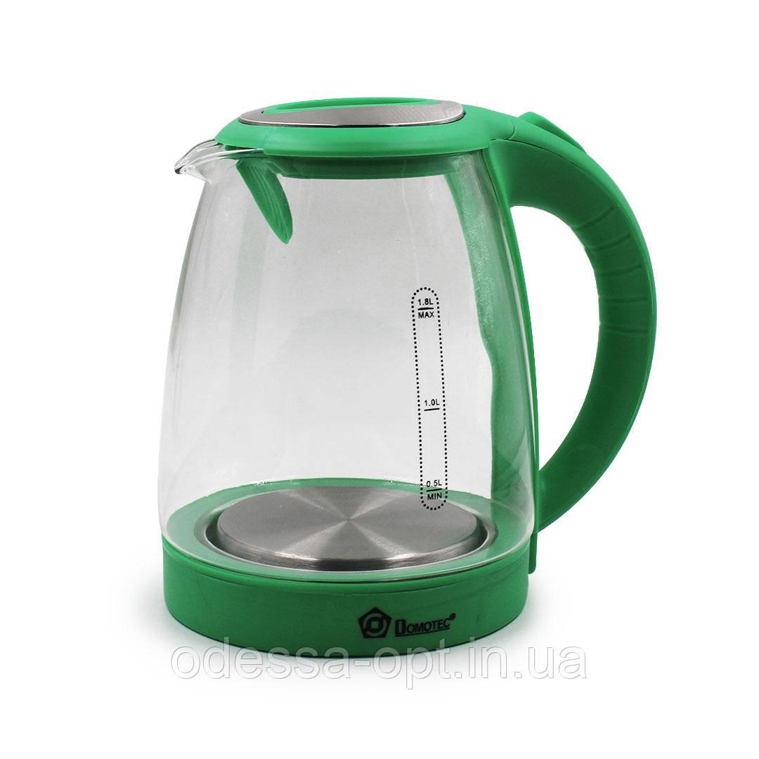 Чайник Domotec MS 8112 Зеленый (1.8л, 2200Вт, стекло)