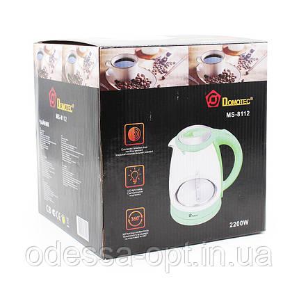 Чайник Domotec MS 8112 Зеленый (1.8л, 2200Вт, стекло), фото 2